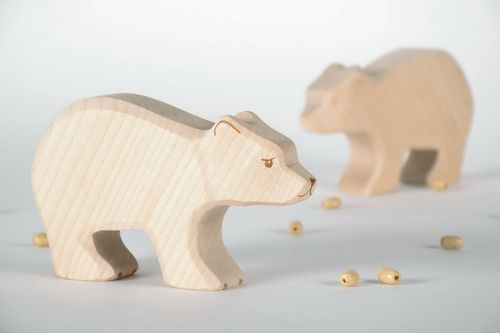 Wooden figurine White bear - MADEheart.com