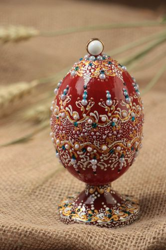Handmade interior decorative wooden painted egg on stand decorated with beads - MADEheart.com