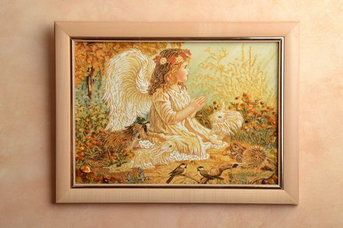 Amber decorated wall panel Angel Girl - MADEheart.com