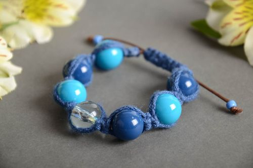 Handmade wrist bracelet crocheted of cord and plastic beads in blue color shades - MADEheart.com