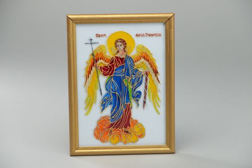 Handmade colorful icon of the Guardian Angel with frame stained glass painting - MADEheart.com