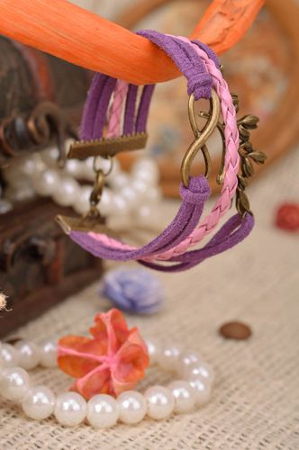Handmade violet and pink suede cord multi row wrist bracelet with metal inserts - MADEheart.com