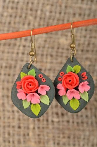Earrings made of polymer clay handmade accessory with beautiful flowers - MADEheart.com