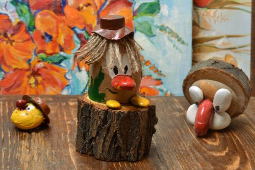 Handmade small painted funny wooden and stone figurine of leshy for children  - MADEheart.com