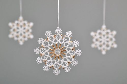 New Years tree hanging decoration made of cotton Snowflake - MADEheart.com