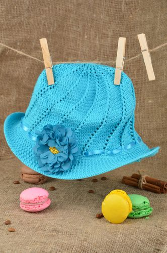 Handmade bright blue babys hat crocheted of cotton threads Forget Me Not - MADEheart.com