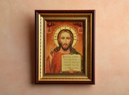 Amber decorated Orthodox icon of Jesus Christ - MADEheart.com
