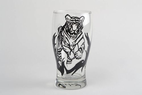 Hand-painted beer glass beer mug present for men gift for friend home decor - MADEheart.com