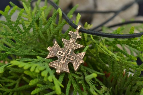 Handmade decorative small bronze next to skin cross pendant necklace on cord  - MADEheart.com