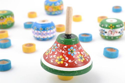 Beautiful eco painted wooden toy bright childrens spinning top - MADEheart.com