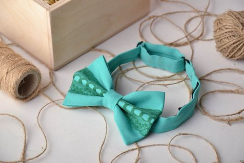 Turquoise bow tie with lace - MADEheart.com