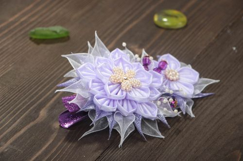 Handcrafted textile flower barrette kanzashi ideas handmade gifts for her - MADEheart.com