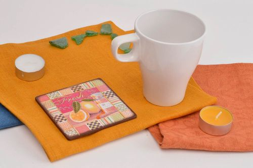 Handmade designer cute coaster stylish stand for cup kitchen interior ideas - MADEheart.com