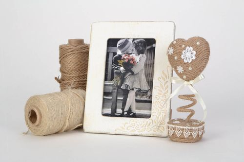 Beautiful unusual handmade photo frame with relief pattern of light color 10*15  - MADEheart.com