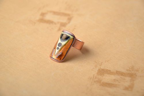 Rectangular copper ring - MADEheart.com