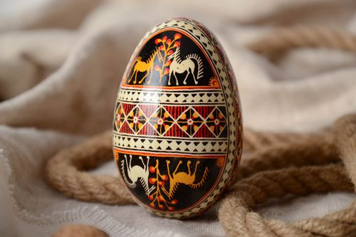 Handmade decorative art painted Easter egg traditional pysanka with horses image - MADEheart.com