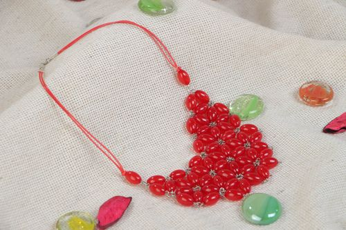 Handmade necklace with plastic beads on string bright red feminine accessory - MADEheart.com