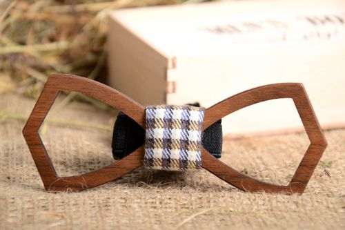 Wooden bow tie unusual designer present beautiful handmade accessories - MADEheart.com