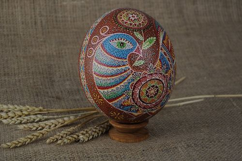 Painted ostrich egg Birds of happiness - MADEheart.com