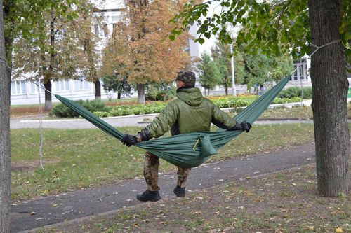 Handmade hammock tourist equipment present for men green hammock gift for guy - MADEheart.com