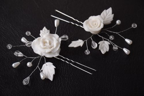 Handmade wedding accessories 2 white elegant hair pins unusual hair pins - MADEheart.com