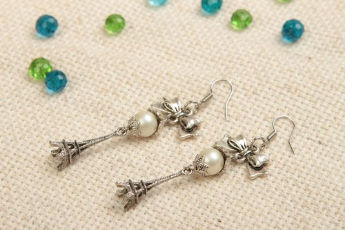 Beautiful long metal earrings with pearl beads designer jewelry gifts for her - MADEheart.com