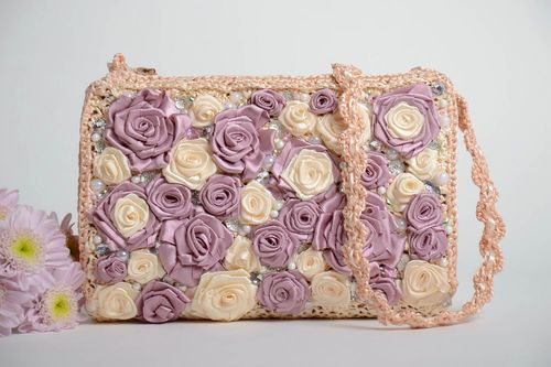 Handmade designer light crocheted clutch bag with pink and violet ribbon flowers - MADEheart.com