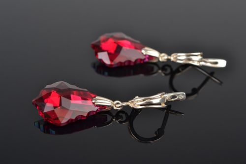 Handmade long dangling earrings with red sparkling Austrian crystals - MADEheart.com