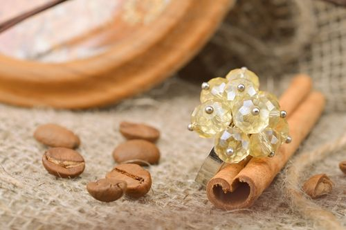 Transparent handmade beaded flower ring with adjustable size - MADEheart.com