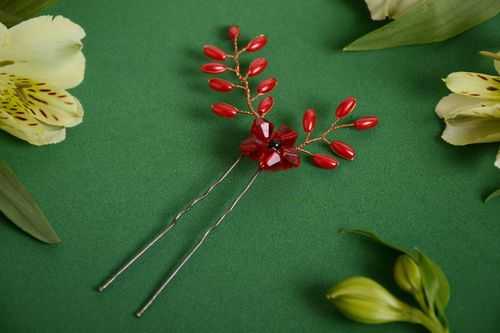 Handmade designer metal hair pin decorated with red beaded flowers - MADEheart.com