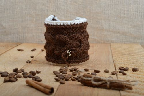 Cute handmade cup cozy knitted of brown woolen threads with metal key charm - MADEheart.com