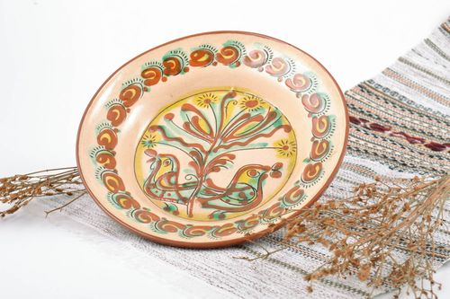 Small handmade decorative painted clay wall plate covered with glaze - MADEheart.com