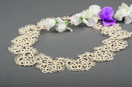 Tatting collar openwork collar handmade elegant collar for dress gift for girl - MADEheart.com