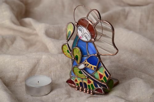 Unusual beautiful handmade designer stained glass candlestick in the shape of angel - MADEheart.com