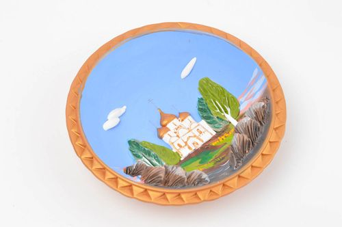 Handmade decorative ceramic plate painted clay wall plate wall hanging ideas - MADEheart.com