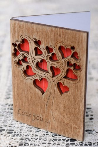 Wooden postcard with hearts Love You - MADEheart.com