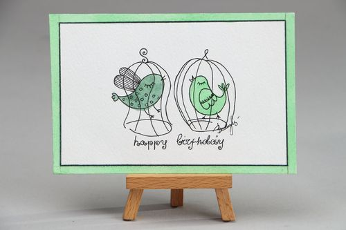 Greeting card with gel pen drawing Happy Birthday - MADEheart.com