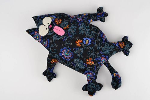 Unique handmade cat pillow fabric toy interior decoration present for kids - MADEheart.com