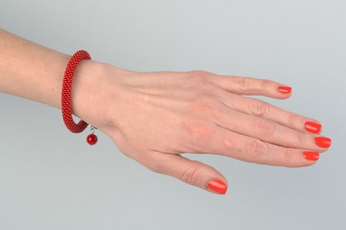 Handmade bright red beaded cord womens wrist bracelet with glass beads - MADEheart.com
