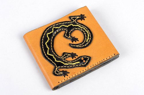 Handmade leather goods leather wallet womens wallet card holder wallet cool gift - MADEheart.com
