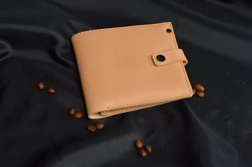 Handmade leather purse beige female wallet unusual designer accessories - MADEheart.com