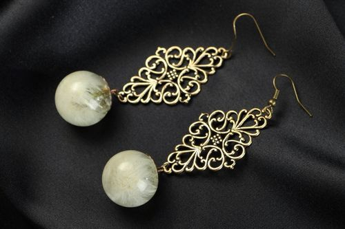 Long Earrings with Dandelions - MADEheart.com