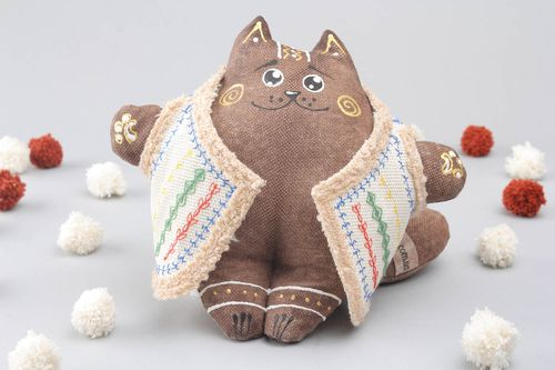 Soft interior toy Cat in Leather Coat - MADEheart.com