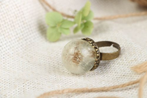 Ring with a natural dandelion coated with jewelry resin - MADEheart.com
