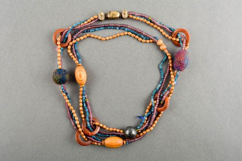 Unusual handmade beaded necklace bead necklace design wooden jewelry gift ideas - MADEheart.com