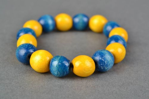 Yellow and blue handmade wooden bracelet - MADEheart.com