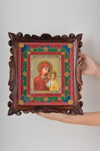Handmade icon framed icon orthodox icon in wooden frame big icon of saints  - MADEheart.com