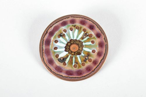 Copper brooch decorated with hot enameling - MADEheart.com