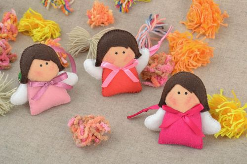 Beautiful homemade designer felt soft toys set with eyelets 3 pieces Angels - MADEheart.com