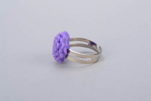 Ring with purple flower, polymer clay - MADEheart.com